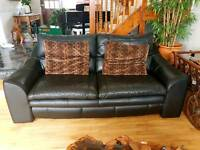 2 x 3 Seater Italian Leather sofas settee