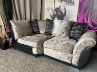 New Alexa Crushed Velvet And Faux Leather Scatter Back Cushions Corner Sofa Sections £299