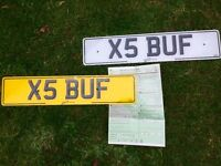 BMW X5 number plate [ X5 BUF ] ALL TRANSFER FEES ALREADY PAID see photo