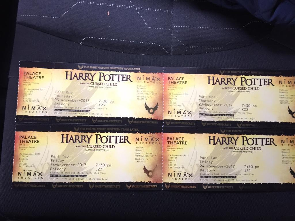 Harry Potter & the Cursed Child, 2 tickets for each show. Part one & Part Two, 23rd & 24th Nov 2017