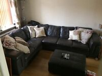 Large Italian leather corner suite with Footstool for sale