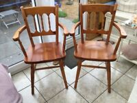 PAIR PINE DINING CHAIRS