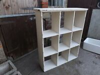 Painted old pine shelving unit, could be used freestanding or wall hanging.