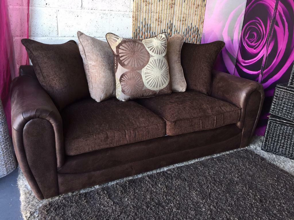 New 3 Seater Sofa Fabric And Faux Snakeskin Marrakesh In Chocolate Brown
