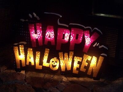 SALE OUTDOOR LIGHTED HAPPY HALLOWEEN SHIMMERING LIGHT WINDOW BAR SIGN PARTY PROP