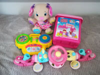 Toys bundle, Fisher Price puppy, ELC steering wheel, mega blocks, radio and more (see more photos)