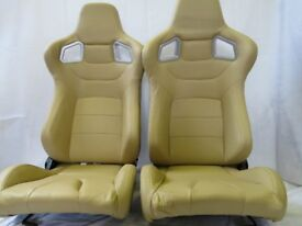 Pair of Cream PU Leather Sport Seats - Bucket Seat / Reclining Seats - Racing Car Seats - Runners