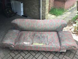 Antique Double Drop Arm Chesterfield Sofa for Restoration