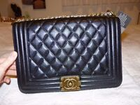 ladies chanel le boy leather large size with gold hardware brand new bag