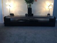 Black and brushed chrome TV cabinet