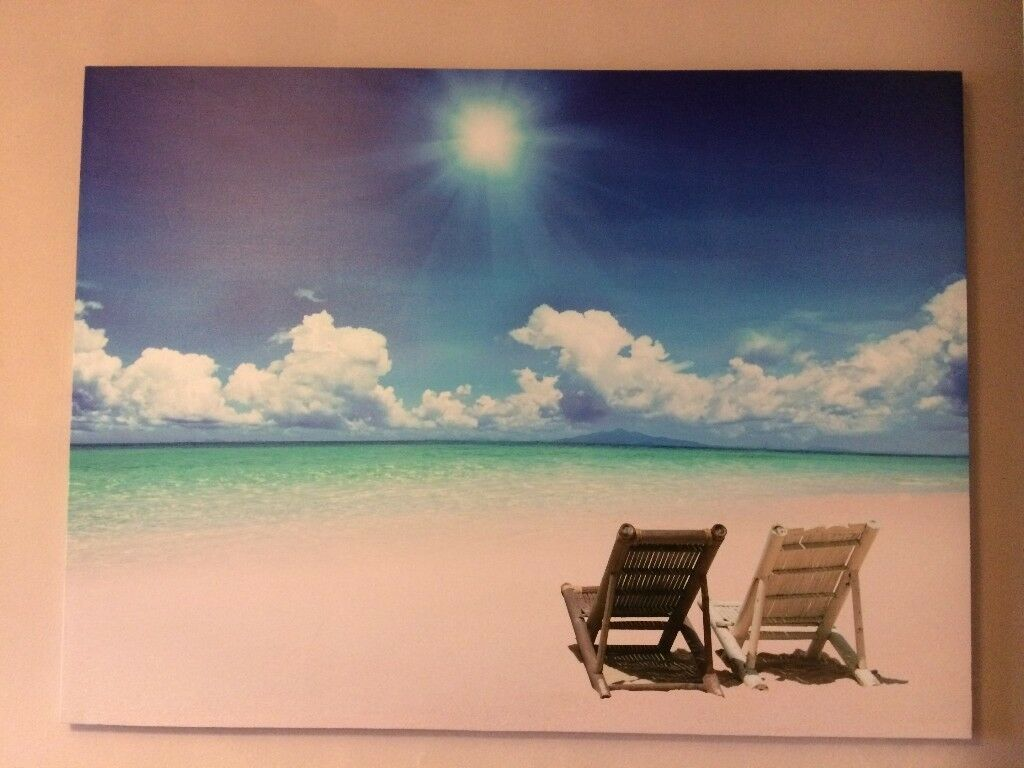 Holiday Feeling Beach Canvas Print 82H x 112W £5 Collection Only Please