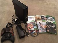 Xbox 360 (black, 20gb, 2x controllers + 8 games)
