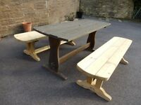 Teak garden table - used but regularly oiled - £20. Two new pine garden benches - £15 each.