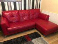 Leather corner sofa and leather electric recliner chairs
