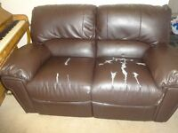 two seater leather reclining sofa
