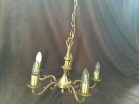 Chandelier Ceiling Light Antique Brass. ** SOLD **