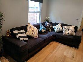 DFS black corner sofa