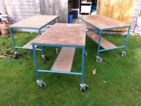 Trolleys are strong and very lightweight 122cm x 69cm 75cm high, estimate a load of 90Kg