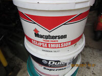 Magnolia and white emulsion paint and BAL tile adhesive