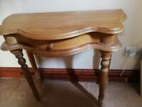 Hall table in old pine with drawer