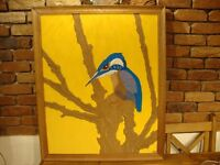 """Framed Textile Art """" Kingfisher"""". D M Armstrong"""