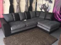 New Corner Sofa Grey And Black Fabric With Sofabed And Scatter Back Cushions