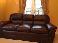 3 seater leather sofa brown