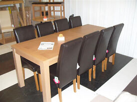 Hemsley Extendable Dining Table & 8 Chocolate Skirted Dining Chairs - Oak (Please call- 07851770393)