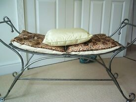 SOLID CAST IRON WINDOW SEAT conservatory seat garden seat WITH CURLED ENDS, 4 SILK CUSHIONS