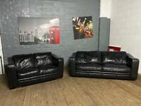 BLACK LEATHER SOFA SET 3+2 SEATER IN EXCELLENT CONDITION