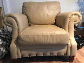 Vintage cream leather DFS armchair