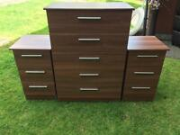£60 for new condition chest of drawers and bedside cabinets