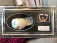 Signed Denton Vessell Boxing glove in frame