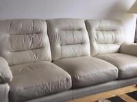 3 seater cream leather sofa and one chair