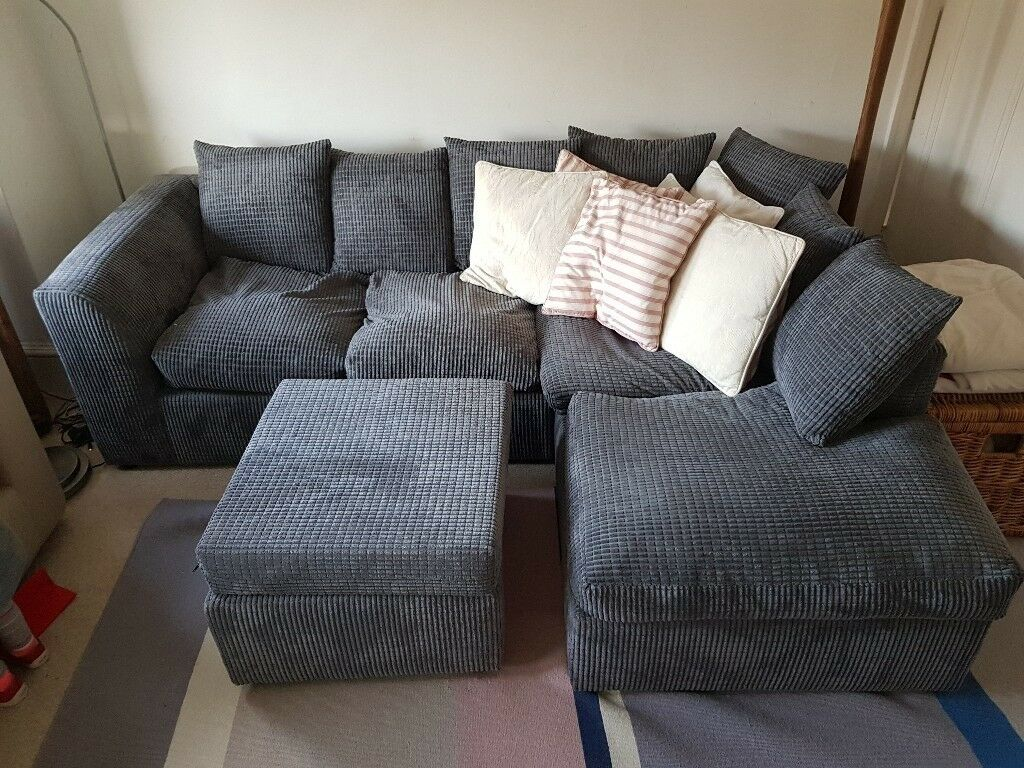 Right Hand L shaped Dylan jumbo cord Sofa and Foot stool
