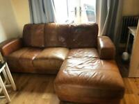 Leather Chaise settee and two seater