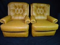 Limited Offer Free Shipping Pair Vintage Club Cigar Chesterfield Leather High Back Armchairs