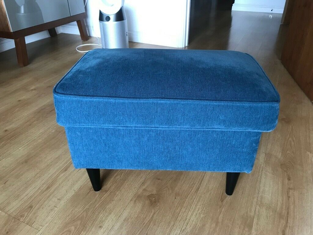 Magnificent Ikea Strandmon Footstool With Storage Velvet Blue In Hackney London Gumtree Theyellowbook Wood Chair Design Ideas Theyellowbookinfo