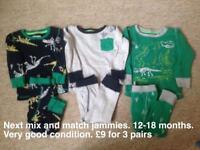 Boys pyjamas and Sleepsuits 12-18monthsths