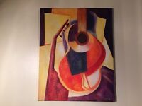 Acrylic painting of musical instruments