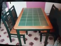 Tile top table green 4 chairs