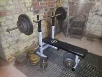 Bench and Dumbells