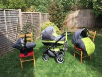 Riko Brano Olive Pram 3in1 (Carrycot + Push Chair + Car seat)