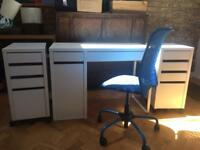 Ikea Micke desk and drawer unit and chair