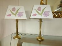 Two Brass Table Lamps with Rectangular Tulip Lamp Shades