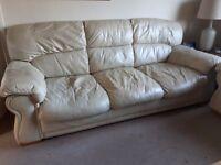 Cream leather sofas 3+2