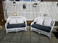 White cane 2 seater sofas with cushions conservatory or patio furniture