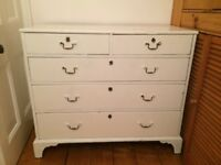 old chest of drawers - painted white