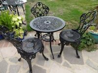 CAST ALUMINIUM GARDEN / PATIO SETS - TABLE AND 3 CHAIRS --