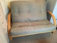 Sofa Bed Futon - sage green cushion, nearly new, very comfortable spare bed.